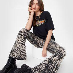 Zebra High Waisted Flare Pants | NastyGal