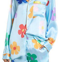 Be Proud by BP. Pride Print Satin Gender Inclusive Pajama Shirt   Nordstrom   Nordstrom