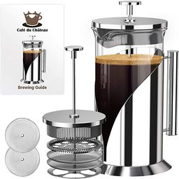 Cafe du Chateau French Press Coffee Maker - Large 34 Oz Glass Carafe - Stainless Steel Coffee Pre... | Amazon (US)