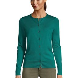 Women's Tall Supima Cotton Cardigan Sweater - Lands' End - Green - L   Lands' End (US)