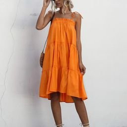 Frill Trim Tiered Layer Midi Cami Dress   SHEIN