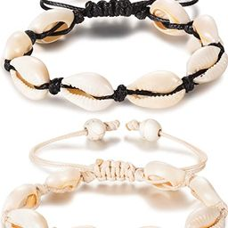 meekoo 2 Pieces Natural Shell Anklet Bracelet Handmade Beach Foot Jewelry Adjustable Boho Beaded ... | Amazon (US)
