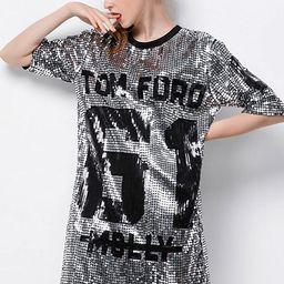 P&R Sparkle Glitter Sequins Hip Hop Jazz Dancing T-Shirt Dress Plus Size Clubwear | Amazon (US)