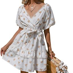 Simplee Women's Embroidery Floral Short Sleeve Tiered Ruffle Swing Mini Dress Summer V Neck A Lin... | Amazon (US)