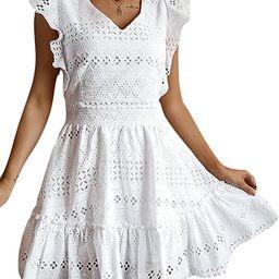 GRACEVINES Womens Elegant Embroidery V Neck Cap Sleeves Summer Ruffle A-Line Mini Short Dress | Amazon (US)