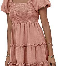 Chellysun Womens Short Sleeve Dress Backless Square Collar Ruffle Hem Pleated Loose Summer Dresse... | Amazon (US)