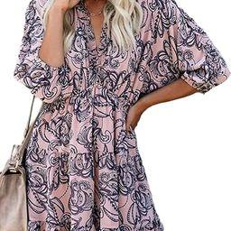 Eytino Women Sexy V Neck Long Sleeve Open Back Printed Mini Short Dresses(S-XL) | Amazon (US)