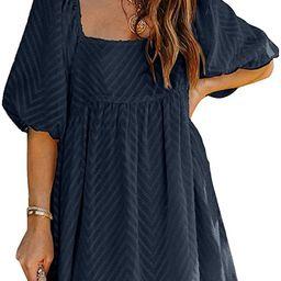 Dokotoo Womens Summer Dress Square Neckline Textured Puff Sleeve Chiffon Mini Dresses | Amazon (US)