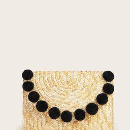 Pom Pom Decor Woven Clutch Bag | SHEIN