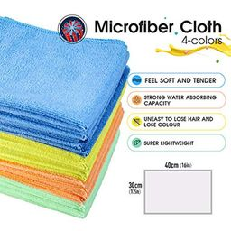 MASTERTOP 24Pcs/Pack Microfiber Dust Cleaning Cloth - 4 Colors 15 x 11.5 in, Multifunctional Cleanin | Walmart (US)