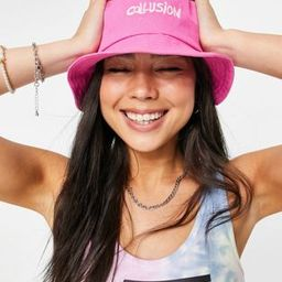 COLLUSION embroidered bucket hat in pink   ASOS (Global)