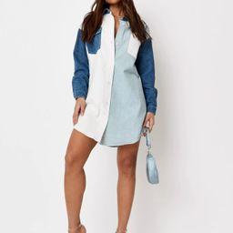 Light Blue Contrast Panel Denim Shirt Dress | Missguided (US & CA)