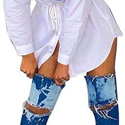 ECDAHICC Women's Casual Denim Patchwork T Shirt Dress Long Sleeve Button Down Collared Tie Front ... | Amazon (US)