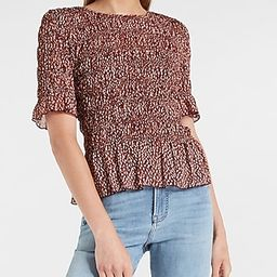 Printed All-Over Smocked Ruffle Hem Top | Express