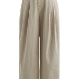 Belted Waist Straight Leg Cotton Pants in Tan   Chicwish