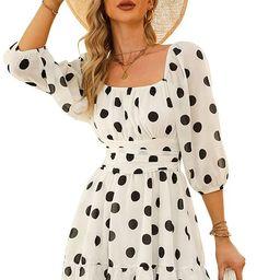 EXLURA Women's Lantern Sleeve Tie Back Dress Ruffled Off Shoulder A-Line Vintage Mini Dress | Amazon (US)