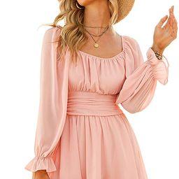 Exlura Women Tie Back Long Lantern Sleeve Square Neck Ruffle Dress Elastic Waist Aline Casual MIn... | Amazon (US)