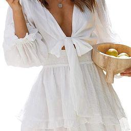 Astylish Womens Sexy Deep V Neck Tie Knot Ruffle Long Sleeve Floral Print Mini Dresses | Amazon (US)