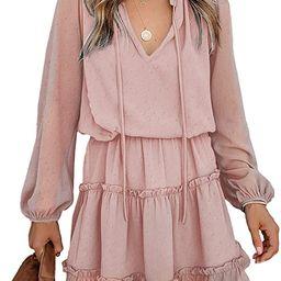 BTFBM Women Casual Summer Dresses V Neck Tie Neck High Waist Ruffle Tiered Aline Solid Color Swin... | Amazon (US)