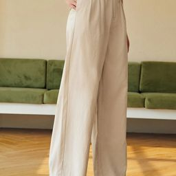 SHEIN Solid Fold Pleated Pants | SHEIN