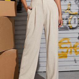 SHEIN Slant Pocket Wide Leg Pants | SHEIN