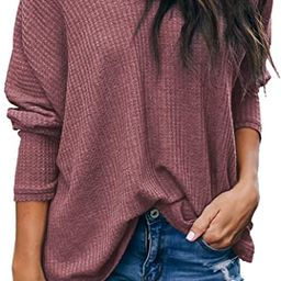 Albe Rita Women's Casual V-Neck Batwing Sleeve Pullover Tops | Amazon (US)