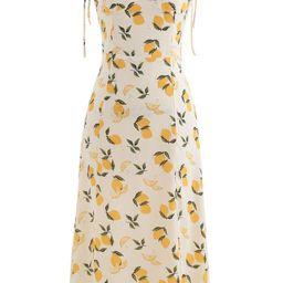 Lemon Print Sweetheart Self-Tie Cami Dress   Chicwish
