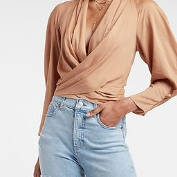 Solid Wrap Front Top | Express