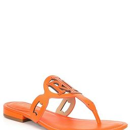 Audrie Leather Logo Thong Sandals | Dillards