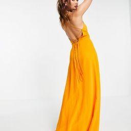 ASOS DESIGN cami wrap maxi dress with lace up back | ASOS (Global)