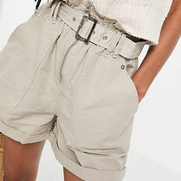 New Look utility paperbag shorts in stone | ASOS (Global)