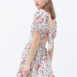 Red Rose Blossom Watercolor Tie Back Dress   Chicwish