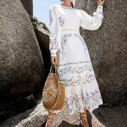 SHEIN Lantern Sleeve Guipure Lace Panel Ruffle Hem Floral Dress | SHEIN