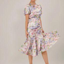 MOTF PREMIUM SATIN PUFF SLEEVE GATHERED DRESS | SHEIN