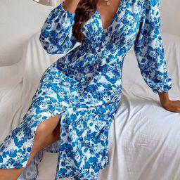 Button Through Allover Floral Dress | SHEIN