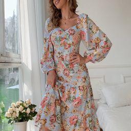 Allover Floral Flounce Hem Dress   SHEIN