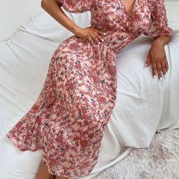 Surplice Front Graphic Print Dress   SHEIN
