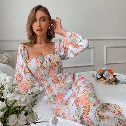 Floral Print Shirred Back Bishop Sleeve Dress   SHEIN