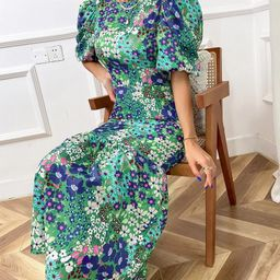 Allover Floral Puff Sleeve Ruffle Hem Dress   SHEIN