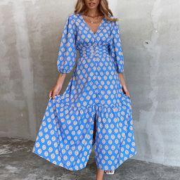 Allover Print Button Front A-line Dress   SHEIN