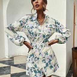 Floral Print Flap Pocket Belted Shirt Romper | SHEIN