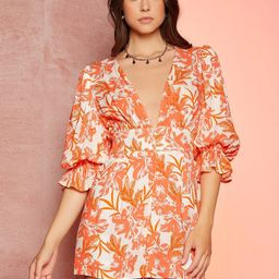 SHEIN Floral Print Plunging Neck Flounce Sleeve Zip Front Romper | SHEIN