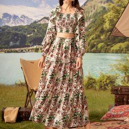 SHEIN Botanical Print Ruffle Detail Shirred Crop Top & Skirt Set   SHEIN