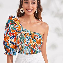 Allover Print Shirred Ruffle One Shoulder Top | SHEIN