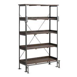 Wood and Steel Emerson Bookshelf   World Market