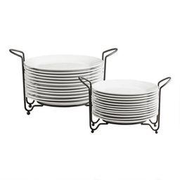 Porcelain Plates With Stacking Rack 12 Piece Set   World Market