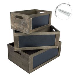 MyGift Rustic Brown Wood Nesting Storage Crates with Chalkboard Front Panel and Cutout Handles, S...   Walmart (US)