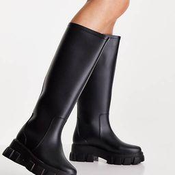 ASOS DESIGN Gracie chunky knee high rain boots in black   ASOS (Global)