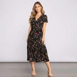 Sweet And Chic Ditsy Floral Midi Dress | Windsor Stores