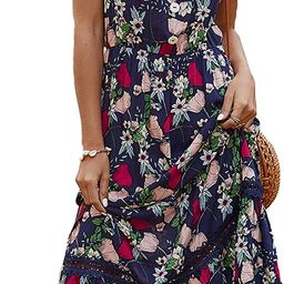 BROVAVE Womens Summer Casual Short Sleeve Floral Print Bohemian V Neck Flowy Midi Maxi Dress with... | Amazon (US)